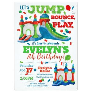 Bounce House Party Invitation Printable For A Girl On